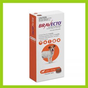 Bravecto Small Dog 4.5-10kg Chewable Tick & Flea Tablet Orange