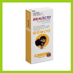Bravecto Miniature Dog 2-4.5kg Chewable Tick & Flea Tablet Yellow